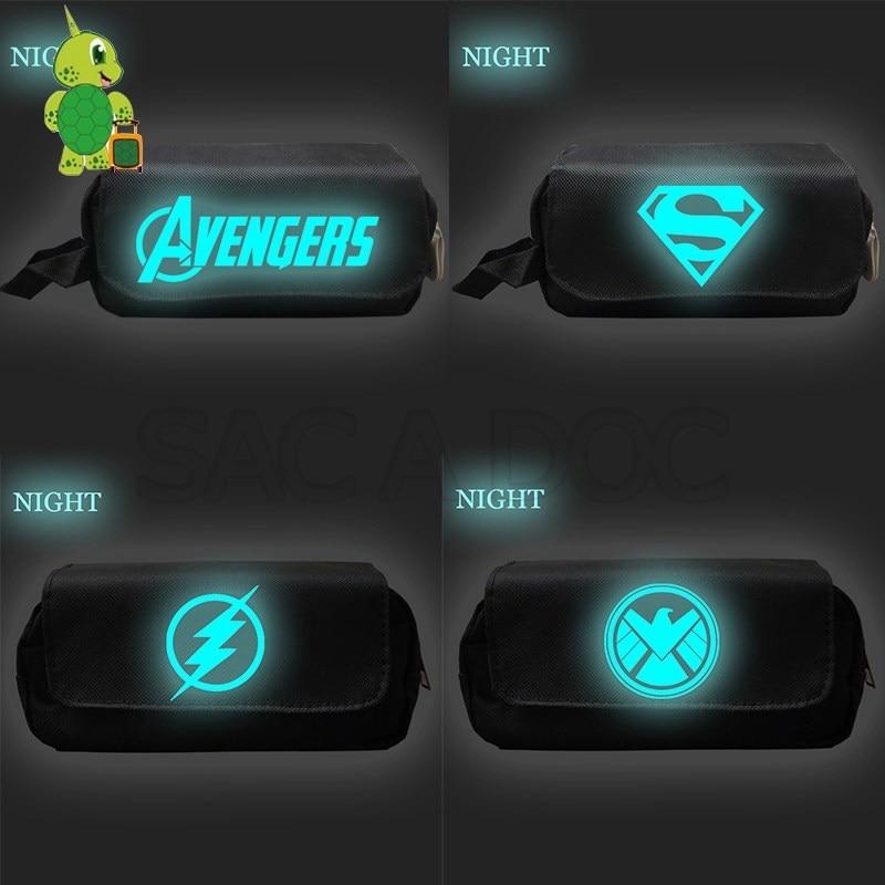 2019 Avengers Endgame Superhero Cosmetic Case Double Layer Pencil Bag Luminous Storage Bags Purse Boys Girls School Supplies
