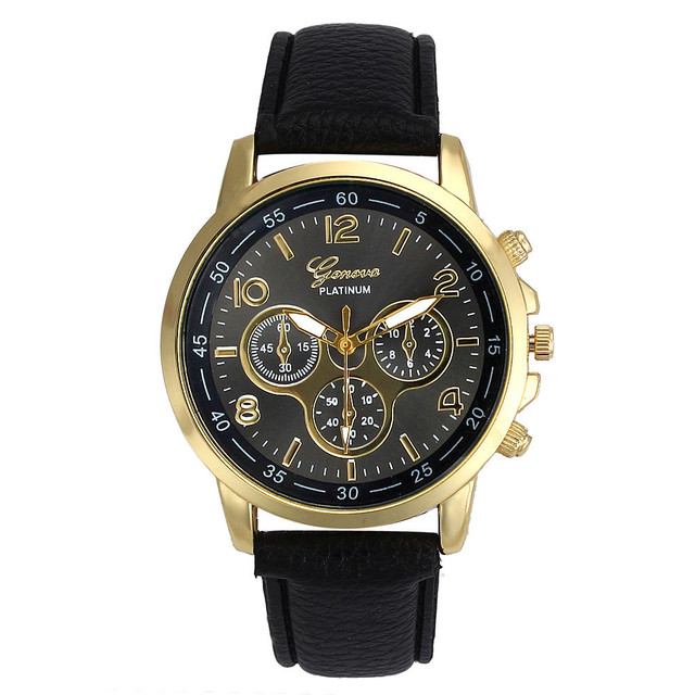 Unisex Casual Faux Leather Quartz Analog Wrist Watch Watches of Lovers clock dre