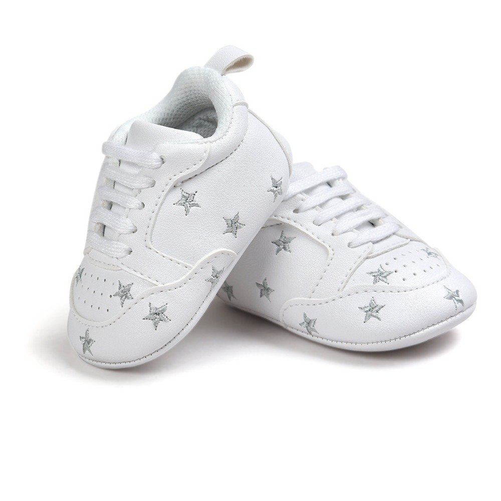 2020 Baby Shoes Newborn Boys Girls Heart Star Pattern First Walkers Kids Toddlers Lace Up PU Sneakers 0-18 Months