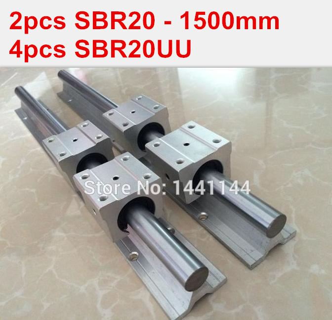 SBR20 linear guide rail: 2pcs SBR20 - 1500mm linear guide + 4pcs SBR20UU block for cnc parts 4pcs lot sbr20uu sbr20 20mm linear ball bearing block cnc router cnc parts and machine aluminum block linear guide rail