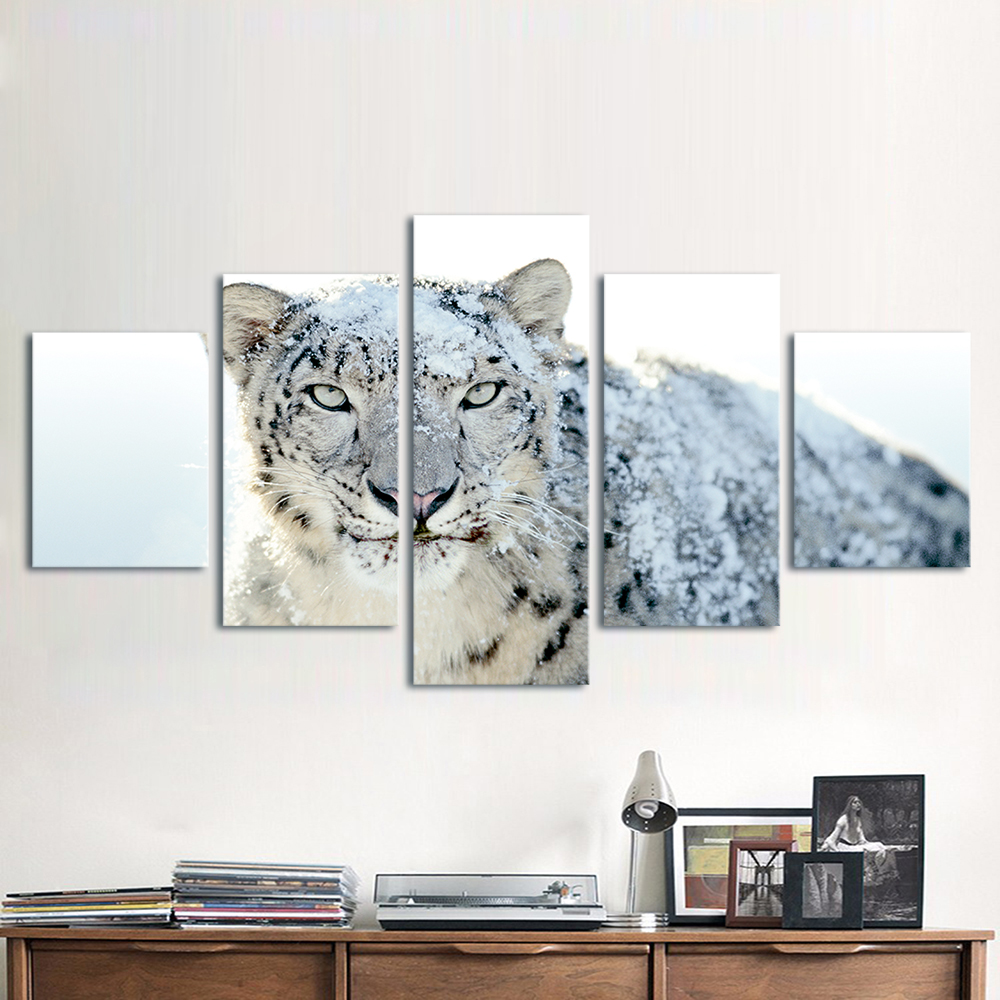 QKART 5 Panels Animal Painting The Snow Leopard Canvas Art Wall ...