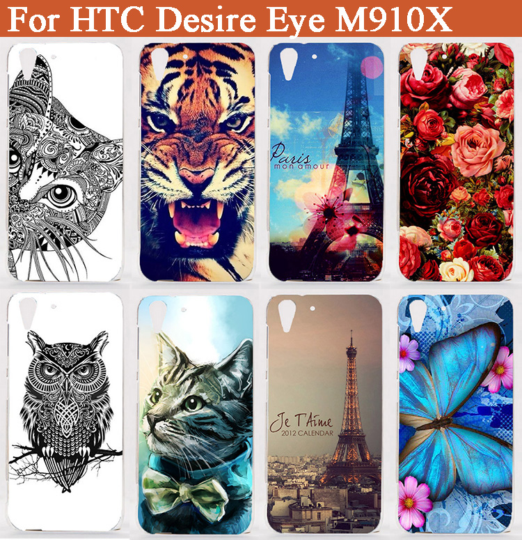 For HTC Desire Eye Case Luxury printing Flowers Animals Towers Phone Cases Hard Plastic Cover Case For HTC Desire Eye M910X