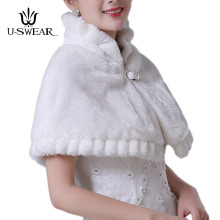U-SWEAR 2018 Hot Sale Warm Bolero Women Jackets High Collar Ivory Red Wedding Accessories Female Faux Fur Bridal Wraps Shawls