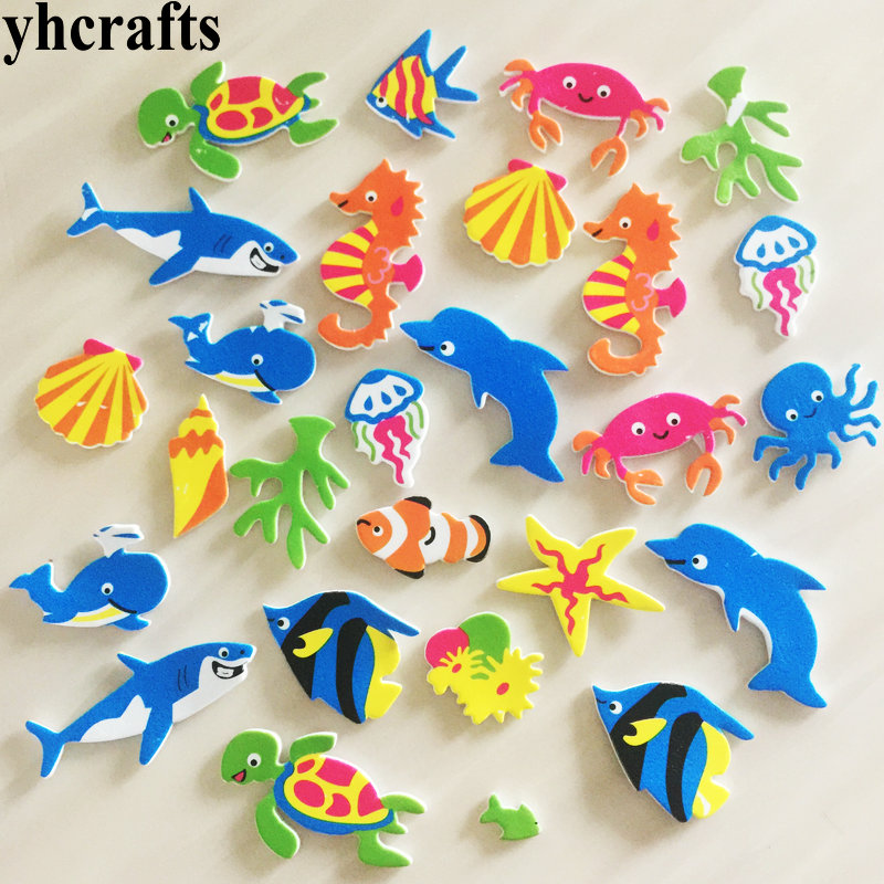 25PCS/LOT,New sea horse turtle shark crab fish foam stickers Early learning educational craft diy toys Kids room ornament Crafts