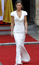 Cheap Floor Length Long White Mermaid Pippa Middleton Bridesmaid Dress 2014 New Arrivals