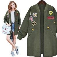 Bomber Jacket Coat Spring Autumn Jacket Women Tops Long Sleeve Slim Army Green Outwear Women Basic