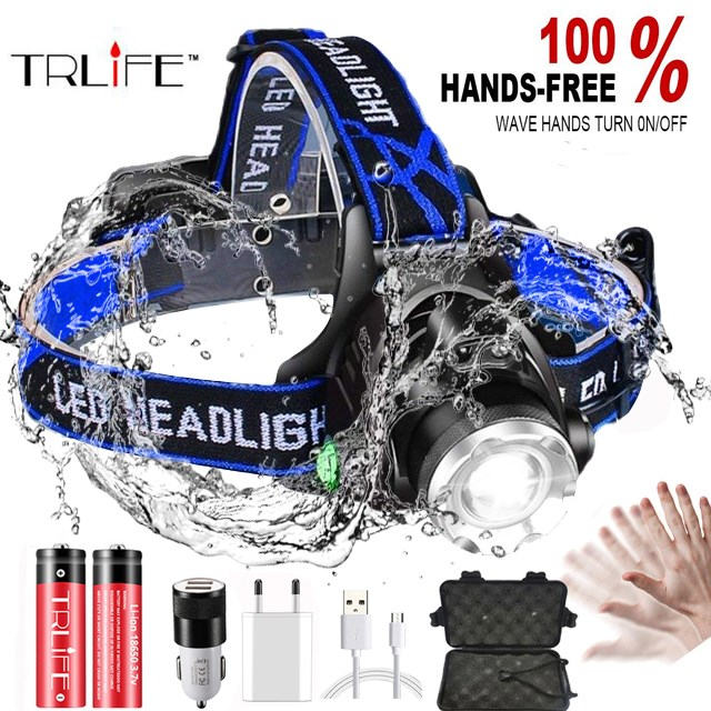 20000LM IR Sensor LED Headlamp Fishing Lamp Super Bright Zoom LED Headlight Use T6/L2/V6 Lamp Beads  Powered By 18650 Battery