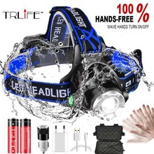 20000LM IR Sensor LED Headlamp Fishing lamp Super bright Zoom Headlight Use T6/L2/V6 Lamp Beads  Powered by 18650 battery