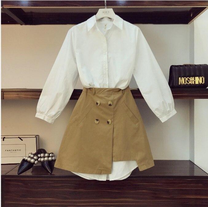 2019 printemps femmes Simple longue chemise blanche robe + taille haute fourche ouverte kaki jupe deux pièces fille étudiants jupe ensemble
