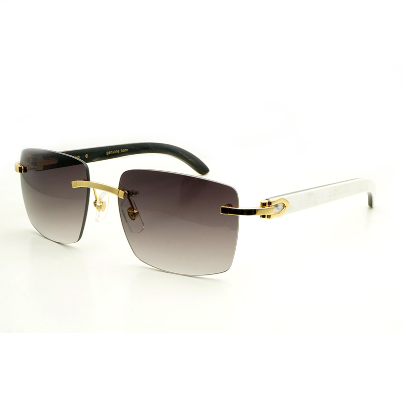 e06473d389d Silver White---Silver Frame with White Buffalo Horn Temples Gold  WhiteBlack---Gold Frame with White-inside-Black Buffalo Horn Temples