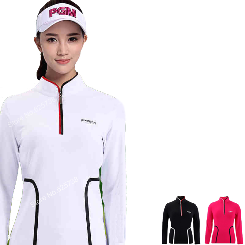 New arrival golf shirts womens clothes long-sleeve T-shirt slim stand collar sportwear girls tops