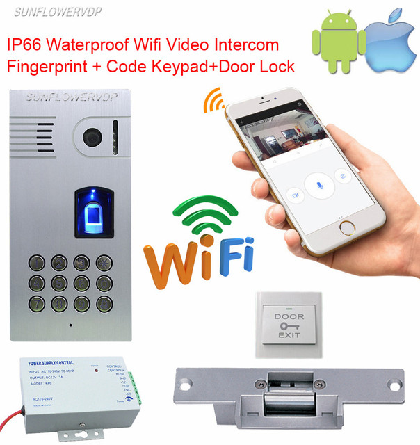 Fingerprint Keypad Wi Fi Video Intercom Ip66 Waterproof Wireless