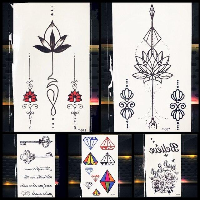 Bracelet Lotus Flower Black Geometry Tattoo Stickers Girls Body