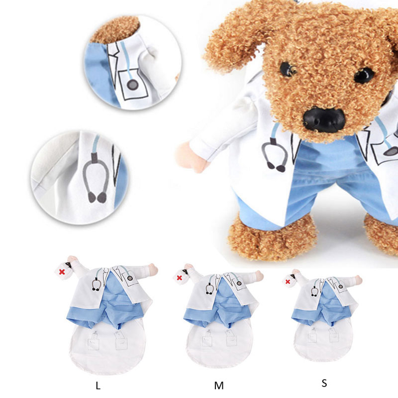 Pet Funny Costume Dog Cat Costume Clothes Dress Apparel Doctor Suit