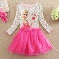 Эльза платье новый 2016 детей случайные девочки платья летняя мода эльза анна платье детская одежда