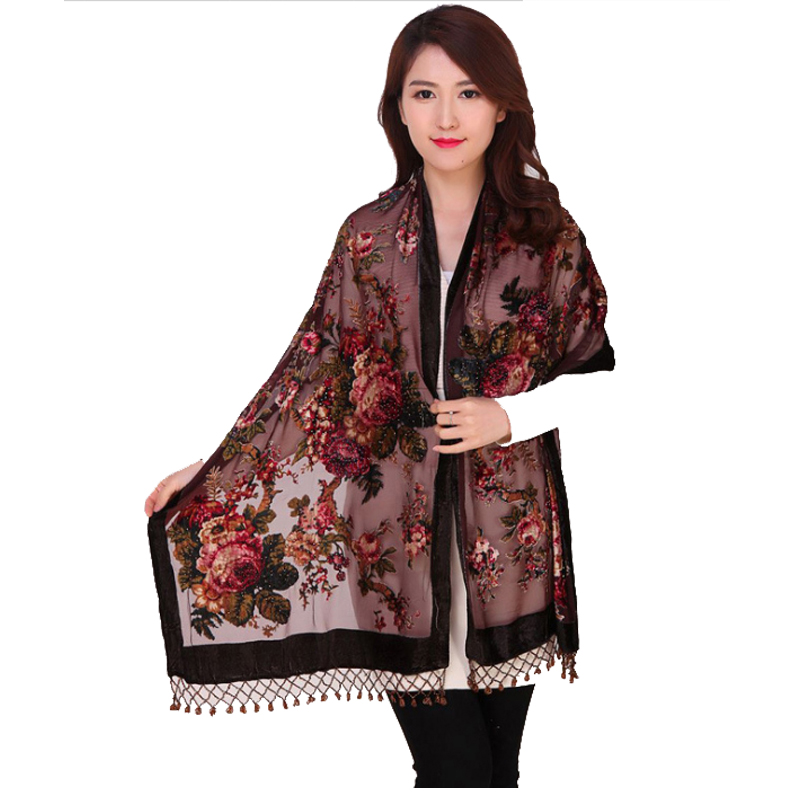 100% Silk Velvet Scarf Shawl Chinese National Women Rectangle Pashmina Poncho Handmade Beaded Flower Cape Mujeres Bufand 011207