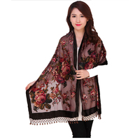 100% Silk Velvet Scarf Shawl Chinese National Women Rectangle Pashmina Poncho Handmade Beaded Flower Cape Mujeres Bufand 011207