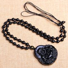 WAN natural Black stone money Buddha Pendant Big belly Maitreya Buddha necklace(China)