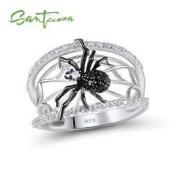 SANTUZZA خاتم فضة للنساء حقيقية 925 فضة خواتم فريدة حساسة الأسود العنكبوت الدائري العصرية حزب مجوهرات الأزياء