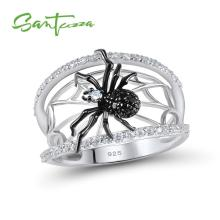 SANTUZZA Silver Ring For Women Genuine 925 Sterling Silver Unique Rings Delicate Black Spider Ring Trendy Party Fashion Jewelry