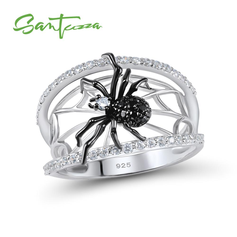 SANTUZZA Silver Spider Ring For Kvinder 925 Sterling Sølv Unikke Ringe Natural Black Stone Ring Trendy Party Moderigtige Smykker