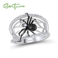 SANTUZZA Zilver Spider Ring Voor Vrouwen 925 Sterling Zilveren Unieke Ringen Natuurlijke Zwarte Steen Ring Trendy Party Modieuze Sieraden