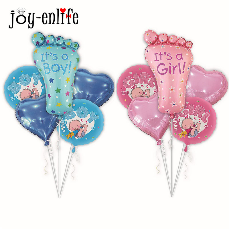 JOY-ENLIFE Aluminium Foil Blue Its A Boy and Pink Its A Girl Cute Decoration Balloon Baby Shower Happy Newborn Party Balloons