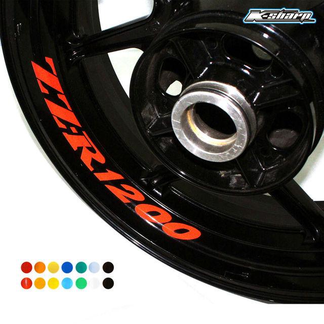 8 x custom inner rim decals wheel reflective stickers stripes fit kawasaki zz r 1200