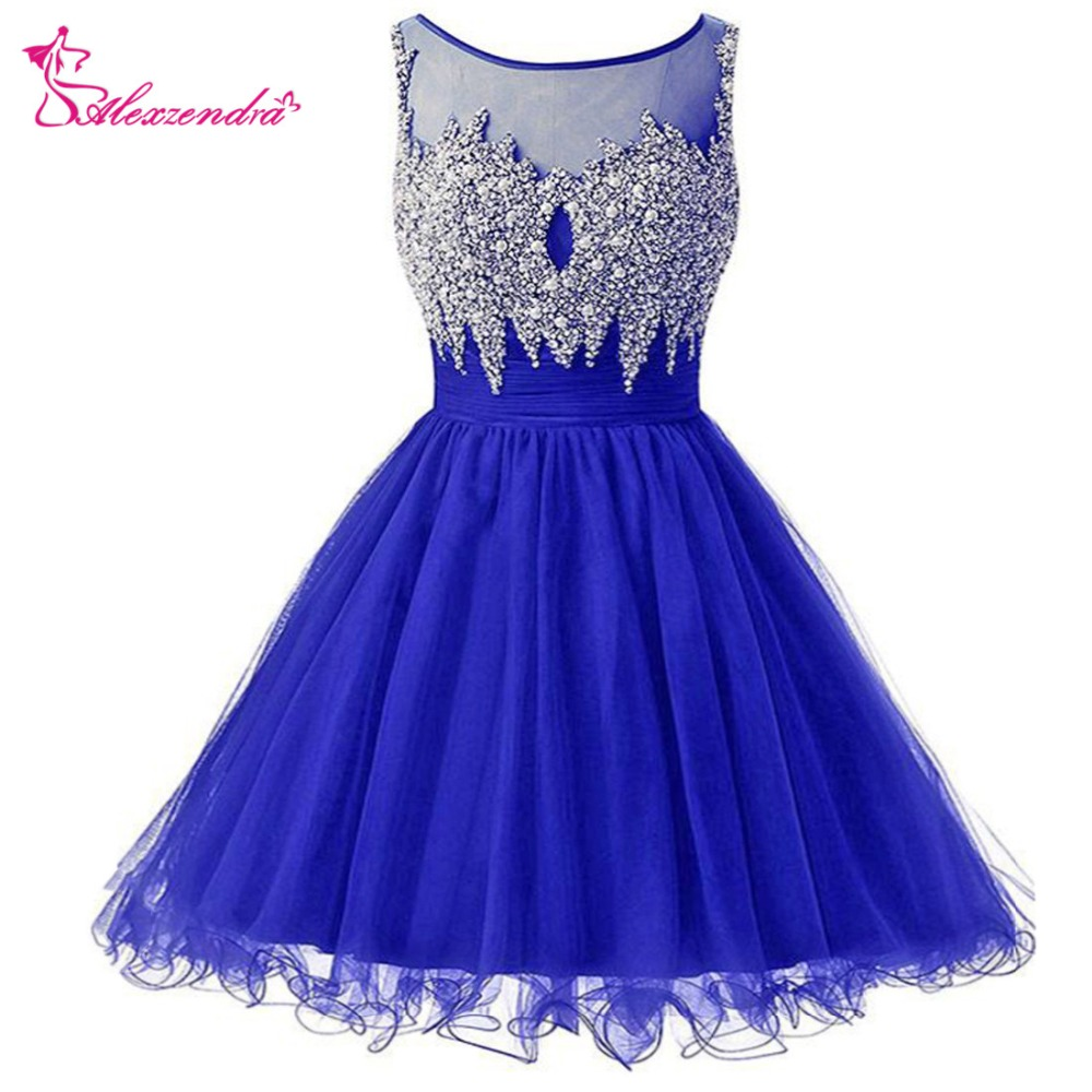 Alexzendra Blue Organza Knee Length   Prom     Dresses   for Girls Scoop Neck Illusion Back Party Women Gown