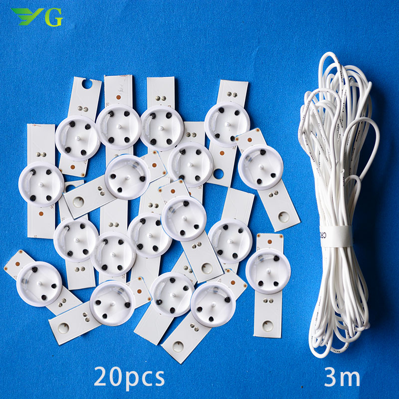 20pcs Led Bulbs 3v   6vBulbs Diodes 32-65 Inch Tv Optical Lens Fliter Backlight W/ Cable Double-side Tape +cable Free Shipping