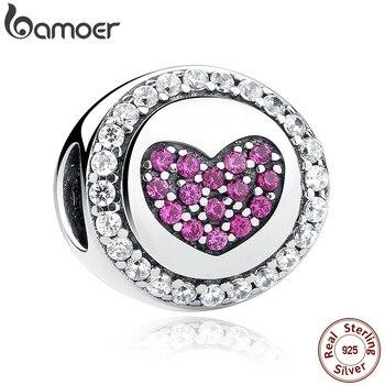 BAMOER autentyczne 925 Sterling Silver różowy serce Charms fit bransoletki naszyjniki prezent dla mamy SCC014
