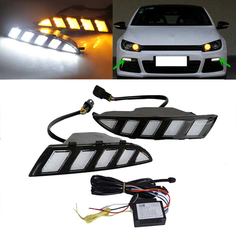 High Power LED DRL Daytime Running Light  with yellow moving turn signal Car-Specific for VW Volkswagen Scirocco 2011-2015
