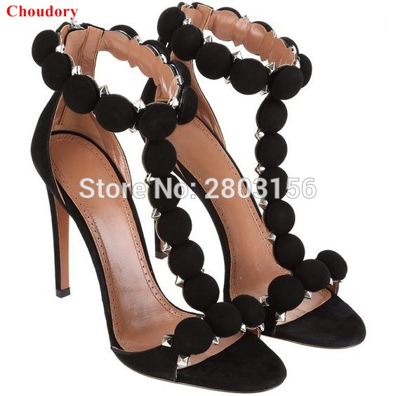 b719f9b2535 Fashion T bar High Heels Women s Sandals Open Toe Sexy Summer Party Shoes  Ankle Strap Studded Stiletto Heel Sandals-in High Heels from Shoes on ...