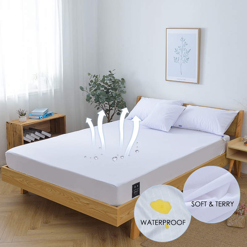 Terry Mattress Protector Waterproof Bed Cover Cotton Fitted Sheet for Bed Wetting and Bed Bug 1PC 3 Size Available White