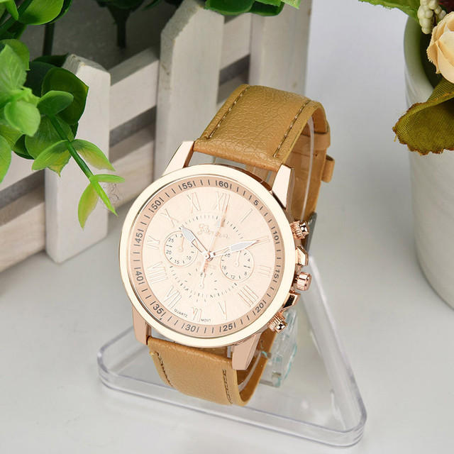 Fashion Faux Leather Women Analog Quarts Watches ladies Wrist Watch 2018 women W