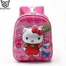 Baijiawei 2017 rose red hello kitty mochilas juguete de felpa de dibujos animados mochila chica carácter bolso de escuela niños mochila infantil bolsa