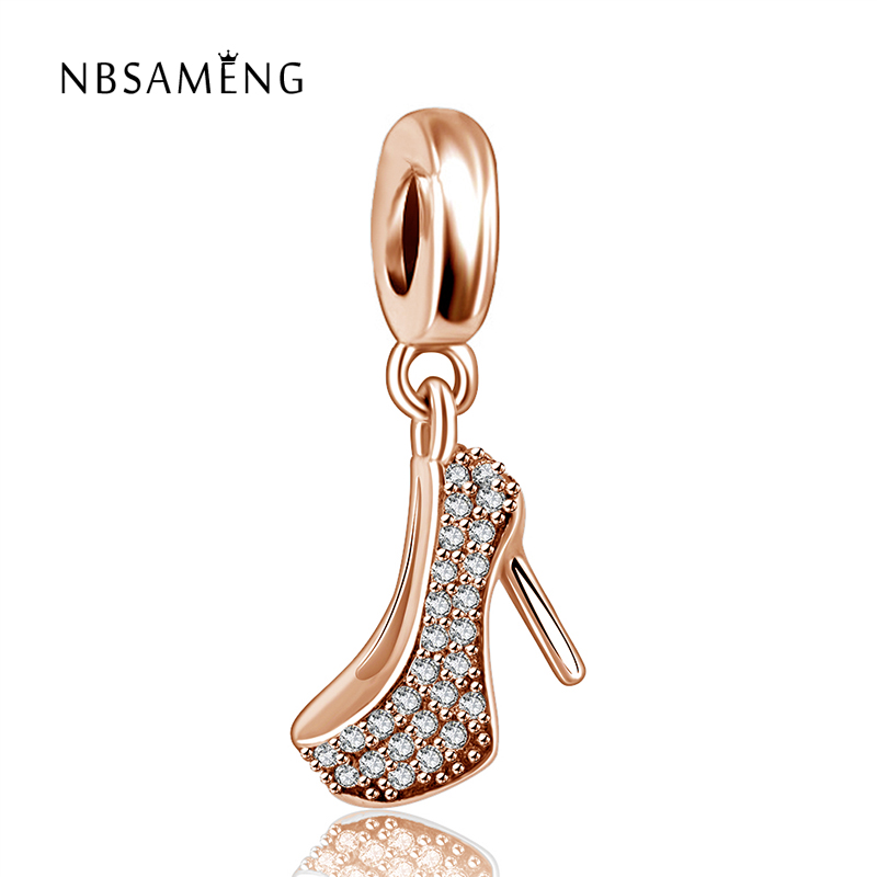 925 Sterling Silver Rose Gold Color & Clear CZ Women High Heels Pendant Beads Charm Fit Pandora Original Bracelets DIY Jewelry