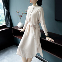 2019 Spring Long Sleeve Women Dresses Elegant Apricot Real Silk 100% A line Mid Calf Dress with Belt Elegant Luxury Clothing