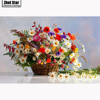 Needlework Colorful Daisy Basket Cross Stitch Full Diamond Square Mosaic Diamond Diy 5d Diamond Painting Home
