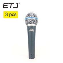 ETJ Marca 3 pcs Atacado de Alta Qualidade Beta 58A 58 Clear Sound Handheld Com Fio Microfone de Karaokê