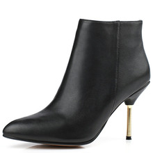 Large size 33-41 shoes cowhide genuine leather women boot thin high heel shoes ankle boot martin botas masculinas botines mujer