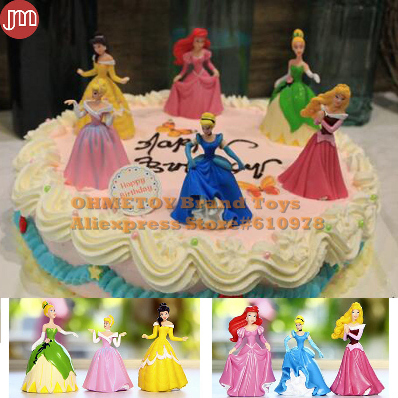 6 Disney Princess Figure Belle Snow White Cinderella Figures cake toppers