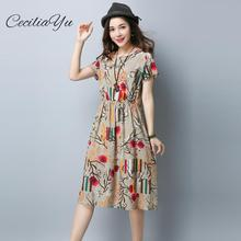 Summer Dress 2019 Elegant/Office/Short-Sleeve/Vintage Womens Casual Wear Cotton For Ceciliayu Spring