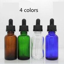 30 مللي فارغة كهرماني شفاف أخضر أزرق قطارة زجاجية زجاجة قارورة قطارة زيت الأنف E السائل إعادة الملء زجاجة شراب ألومنيوم بغطاء أسود
