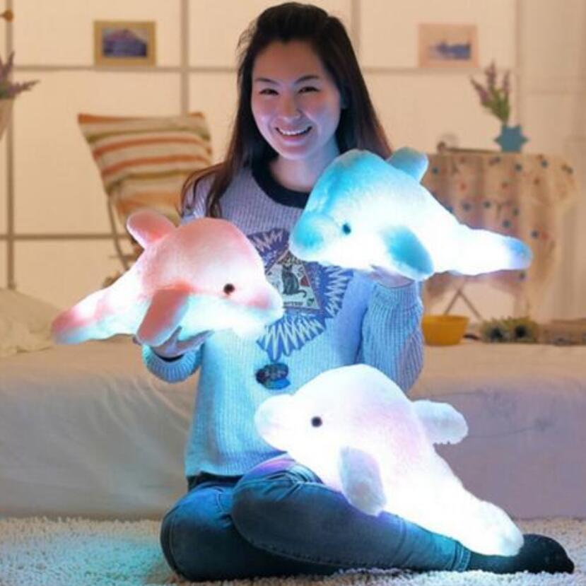 1pc 43cm Creative Luminous Plush Delfin Doll Glödande Kudde, LED Light Plush Animal Leksaker Colorful Doll Kids Children's Gift