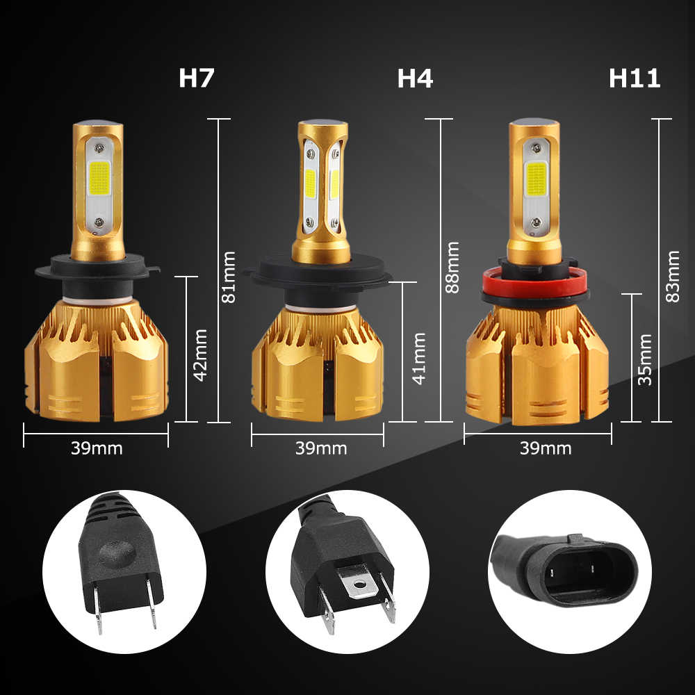 H7 H1 LED H11 H8 H9 9005 9006 880 H3 H4 HB3 HB4 led 9007 9004 H13 Car Headlight Bulb 3000K 4300K 6500K 8000K LEDs Head lamp 12V