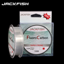 JACKFISH 100M Fluorocarbon fishing line 5 30LB Super strong brand Leader Line clear fly fishing line