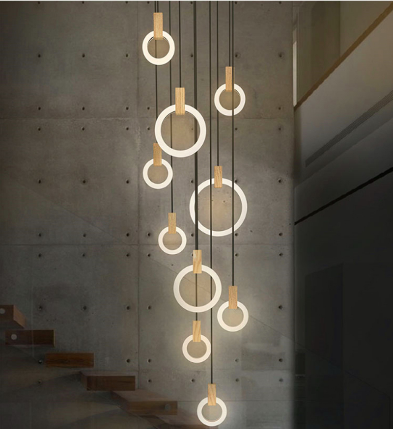 ZYY Circular Wood Modern Creative Pendant Light European-style Luxury LED Lamps LED chandelier nordic Indoor Lighting Restaurant