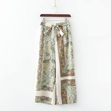 Summer Wide Leg Pants Bow Bohemian High Waist Satin Pleated Women Fashion Mid Full Loose Flare Lightweight Flat
