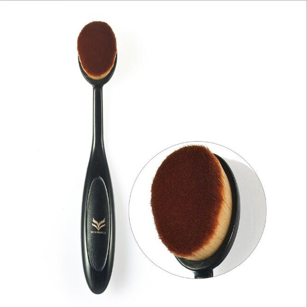 100PCS Oval Makeup Brush Foundation BB Cream Flawless Base Powder Puff Blusher Cosmetic Toothbrush Shaped Cleaning Beauty Tool candy color calabash shaped cosmetic makeup cotton pads sponge puff pink